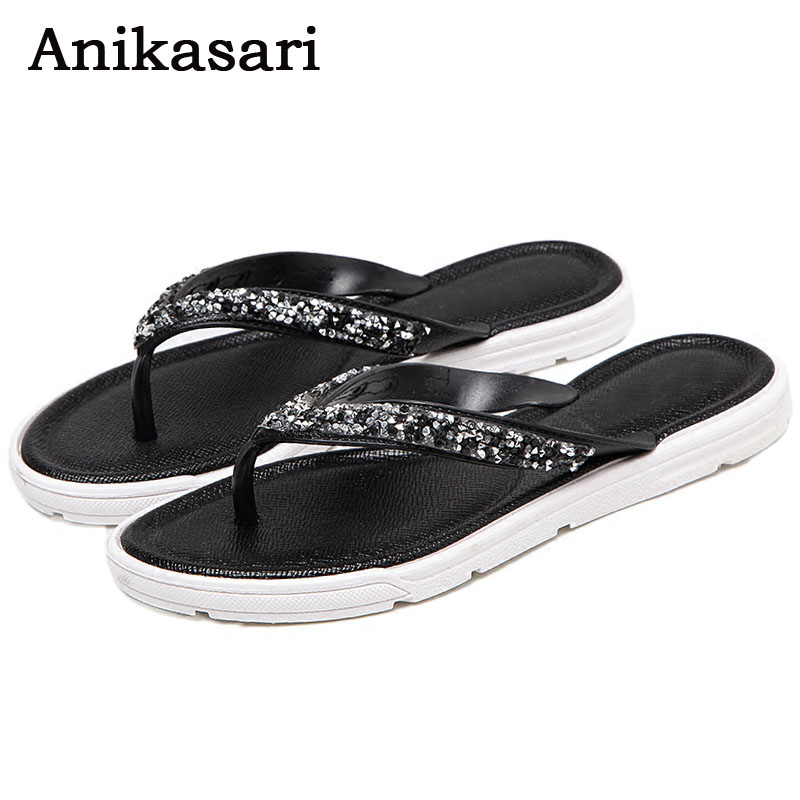Anikasari New High Quality Sandals Women Crystal Flip Flops Fashion Beach Sandals Bling Flat Slippers Summer Flats Women Shoes  high quality man flip flops slippers beach sandals summer indoor
