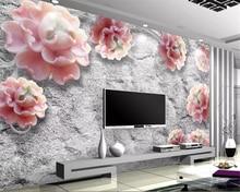 Beibehang Custom 3d wallpaper Emboss peony flower vine 3D sofa TV background wall papier peint mural