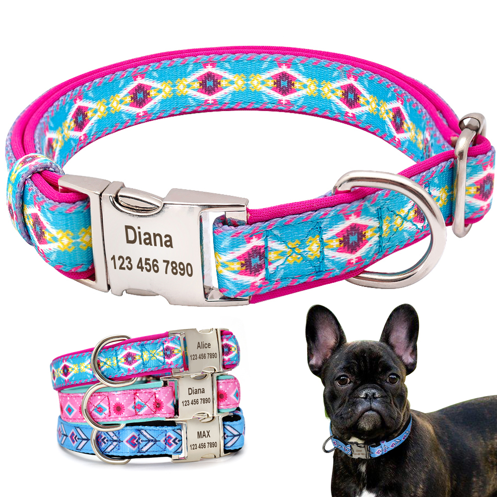 Personalized Dog Collar Printed Nylon Pet Dog Tag Collar Custom Puppy ID Collars Perro For Small Large Dogs Anti-lost Engraved
