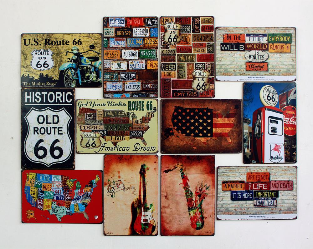 Charming Metal Home Sign Decor Historic Old Route 66 Vintage Home Decor Metal Tin  Signs Wall