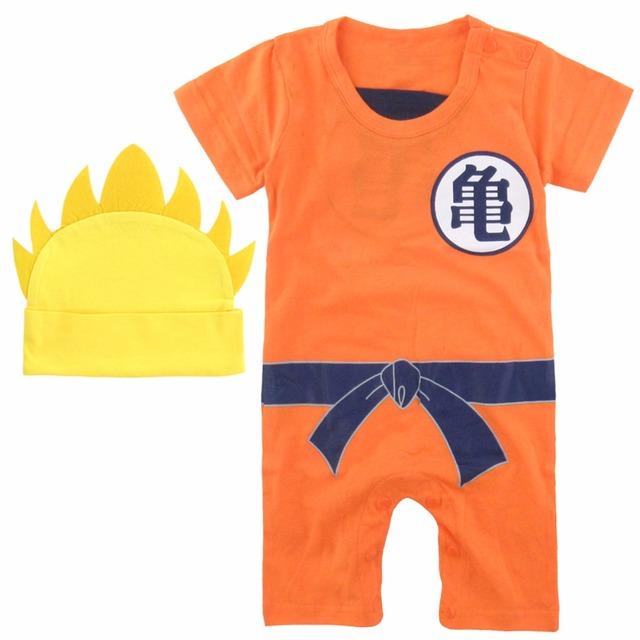 Bébé Garçon Barboteuse Dragon Ball Z Costume Vegeta Goku Infantile 2 PCS Costume T-shirt avec le Chapeau Mignon Ensemble Salopette Super saiyan