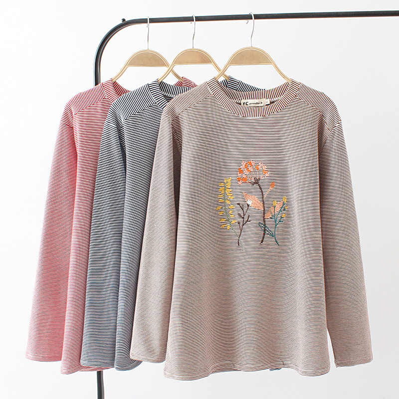 2756113a0db02 Plus size floral Embroidered t shirt woman long sleeve tshirt 2018 cotton  spring   autumn women