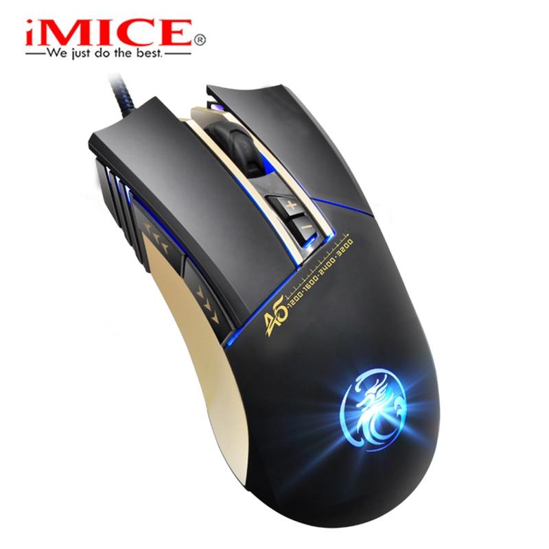 IMICE A5 Professionale 7 Tasti Mouse Ottico Del Desktop Del Computer Portatile del PC A quattro Lampada Respirazione colore Aumento di Peso Mouse Da Gioco garanzia