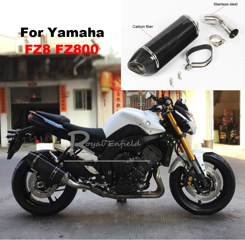 2018 new 51MM Modified Motorcycle Exhaust Muffler Scooter Drain Bevel Inlet Exhaust+Connecting Pipe Tube For Yamaha FZ8 FZ800 2018 new 51MM Modified Motorcycle Exhaust Muffler Scooter Drain Bevel Inlet Exhaust+Connecting Pipe Tube For Yamaha FZ8 FZ800