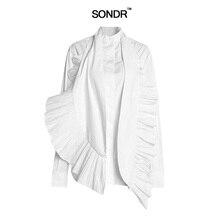 SONDR Casual Solid Women Blouse Long Sleeve ruffle Patchwork Halter Vest Asymmertical Shirt Female 2019 Spring fashion new