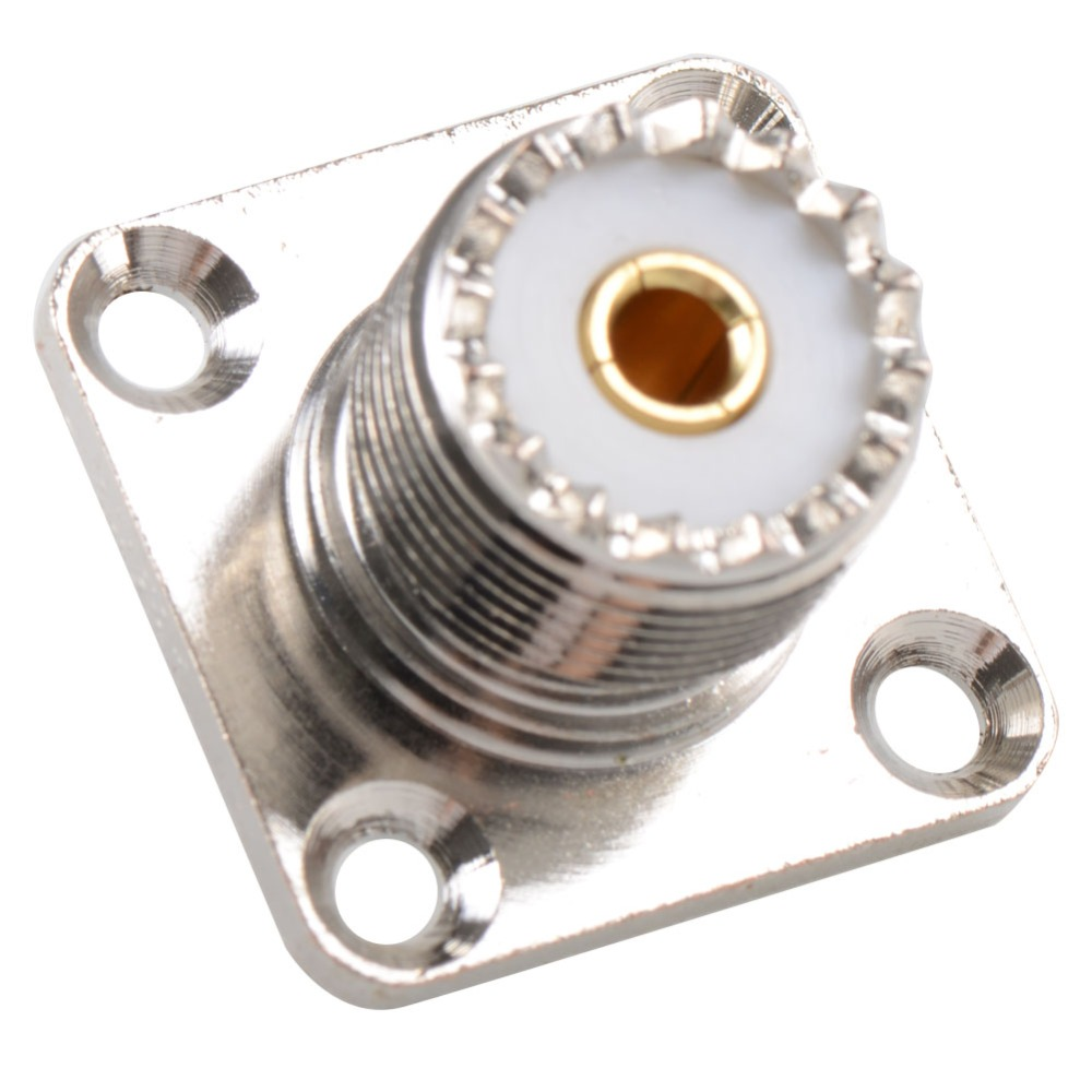 Connector SO239 UHF Female 4-Hole 50Ohm 25MM Flange Solder Panel Mount Straight Screwed Coupling VC729 P0.5 areyourshop sale 10pcs adapter uhf female to so239 jack 25 4mm flange panel mount rf connector f f
