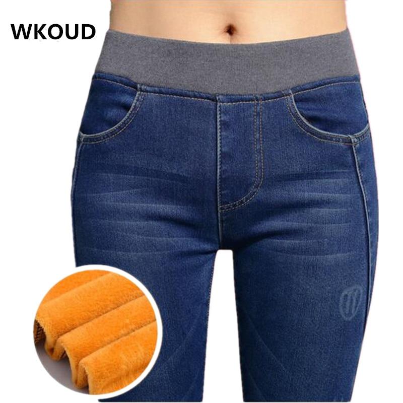 WKOUD 2018 invierno Jeans mujeres oro de lana cálido Denim Pantalones espesar de alta cintura pantalones lápiz mujer otoño Jean pantalones P8035