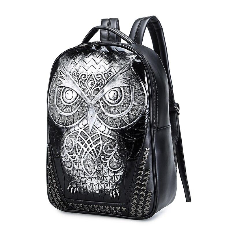 Sac pour femme mode sport PU cuir sac à dos mignon 3D hibou Animal tête étudiant sac d'ordinateur grand espace Zip voyage sacs à dos - 4