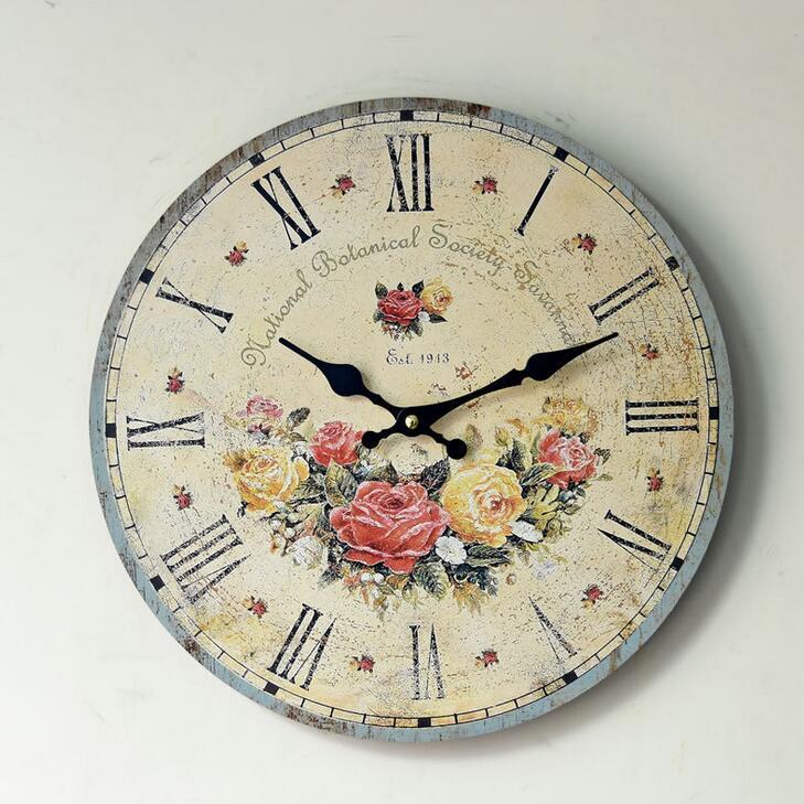 Home Deco Silent Rose Flower Floral Wall Clock Digital
