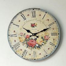 Home Deco Silent Rose Flower Floral Wall Clock Digital Watches Decorative Clock Pastoral Styles