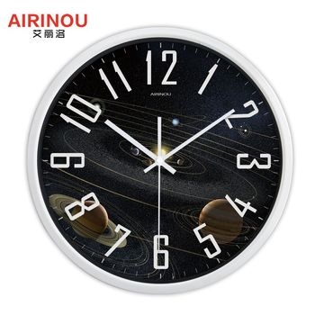 Airinou the Moon Starry Sky and Mars 3 Styles ,Glass&Metal Silent Movement Wall Clock,Children Room Museum Theme Park  Decorate 19