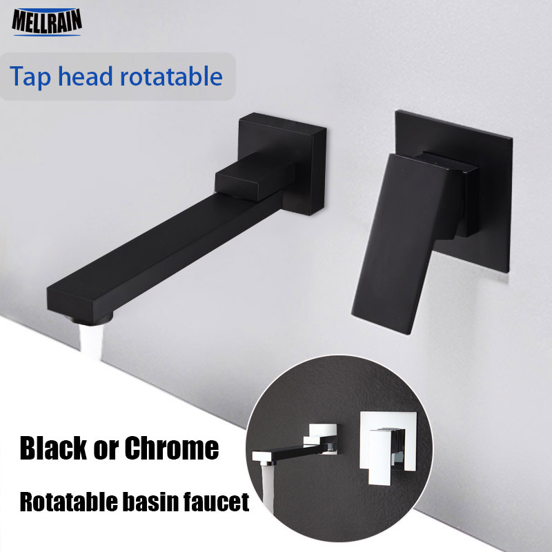Matte Black Color Qaulity Widespread Bathroom Basin Faucet Wall Mounted Rotatable Water Mixer Tap Chrome Sink
