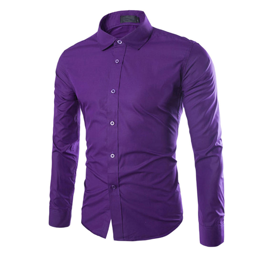 Fashion Spring Autumn Men Work Shirt Long Sleeve Solid Color Easy-Care Anti Wrinkle Man Casual Shirts M-3XL FS99 ...