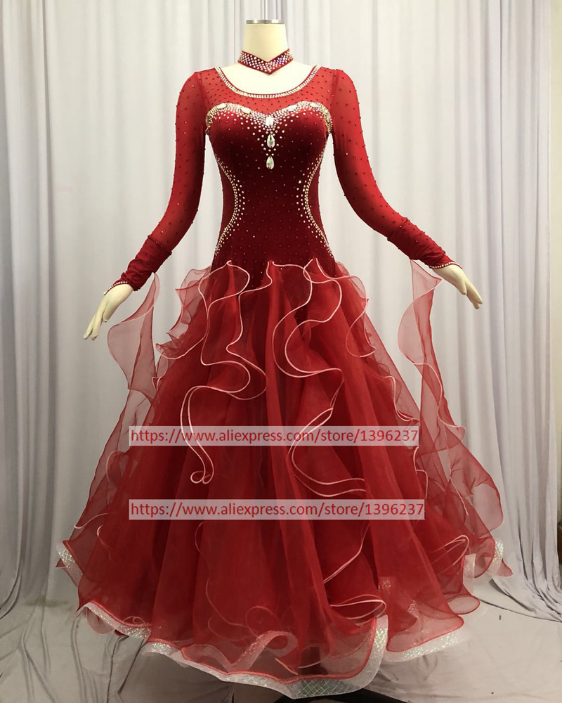 Standard Ballroom Dance Dresses 2019 New High Quality Stage Purple Waltz Dancing Costume Women Ballroom Competition