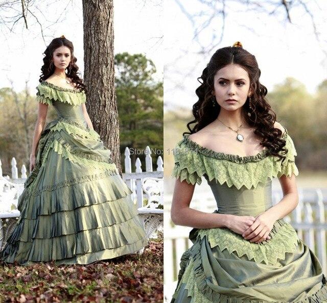 Vintage Nina Dobrev Victorian Era Ball Gown Corset Off The Shoulder