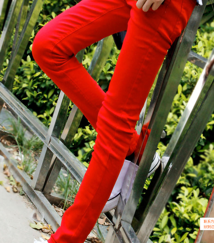 HOT Fashion Summer Solid Cotton   jeans   men red teenagers pantalon homme Skinny male leisure Boy Sweatpants hombre Free Ship