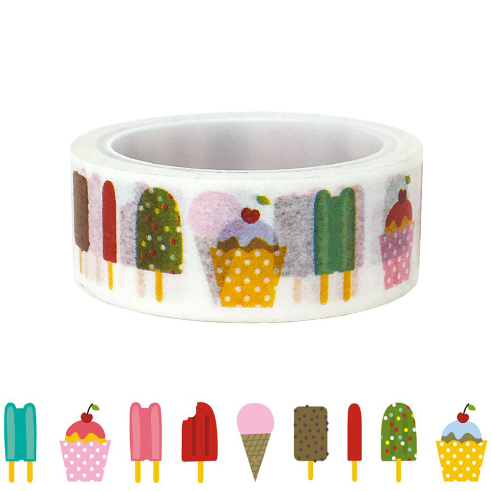 20pcs/set Cartoon Ice Cream Ice Cream Bar Popsicle Washi Tape DIY Decorative Stickers Hand Book Kawai Masking Tape Wholesale