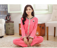 Autumn Cotton Cute Full Sleeve Long Pants and Round Neck Shirts Pajamas Loose Casual Soft Single Breasted Homewear for Women