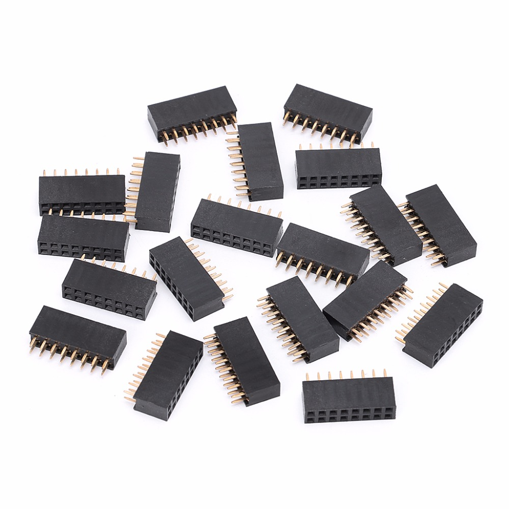 20Pcs/Set Double Row Female Straight Header Pitch Socket 8Pin Platoon Strip Connector