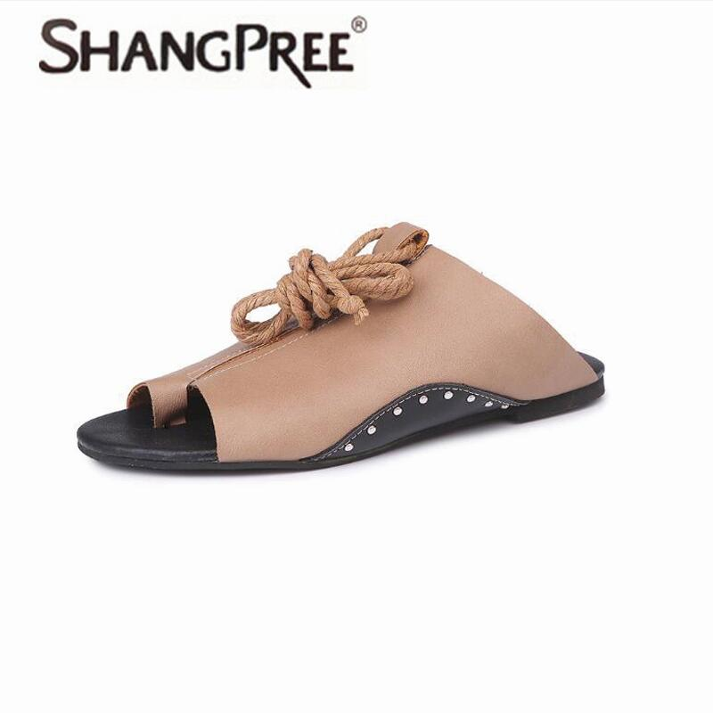 New Women Shoes Spring summer Slippers PU Leather Lace Up Women Flip Flops Wedges sandals Strap Open Toe unicornio zapatos mujer espadrilles retro gladiator sandals women genuine cow leather flip flops sandals lace up shoes black brown zapatos mujer
