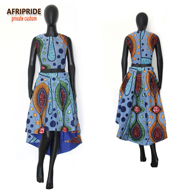 2018 autumn african clothes women 2-pieces suit AFRIPRIDE sleeveless O-neck short top+calf-length lined skirt casual suitA722666