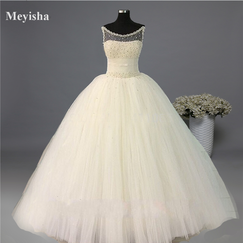 ZJ9079 Ball Gown Real Images Vestido De Novia Tulle Wedding Dress 2016 with Pearls Bridal Dresses