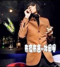 Взорван зима корейской молодежи блейзер шерстяное пальто мужские плащи тонкий повседневная пальто для мужской костюм мода гороха пальто S-3XL