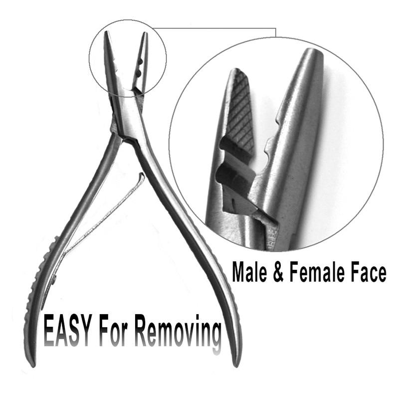 Ny stil Rostfritt stål Hårtänger för mikroring / länk / pärlor / Tube applicera ta bort, hårförlängningstänger, hårförlängningsverktyg