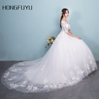 Newest Real Sample Tulle V Neck Half Sleeves Long Wedding Dresses 2018 White Appliques Lace Up A Line Wedding Gowns HFY410