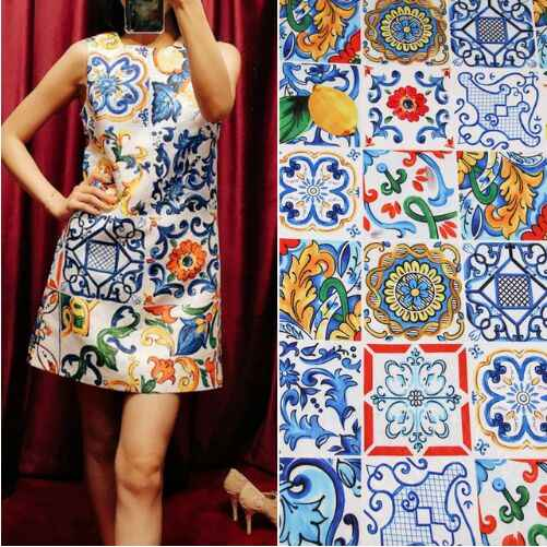 100X145cm Multicolor Sicilian Majolica Lemon Embossed Jacquard Fabric for Woman Spring Autumn Dress Skirt Coat Sewing DIY-AF604