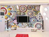 European Mosaic Art Tiles 3D Room Wallpaper Custom Wallpaper Brick Wall Non Woven Decor Wallpaper