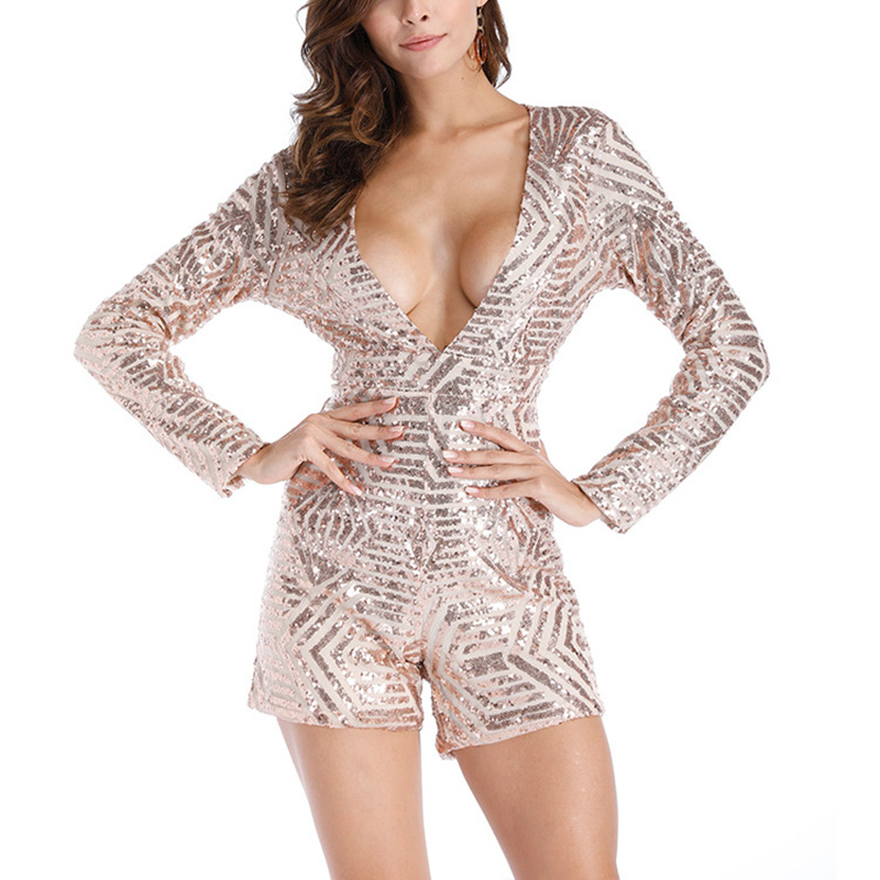 Women Sequins Jumpsuit Deep V Neck Long Sleeves Backless Rompers For Spring AIC88