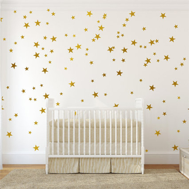 Gold Silver Stars Pattern Vinyl Wall Art Decals Nursery Room Decoration Wall Stickers For Kids Rooms