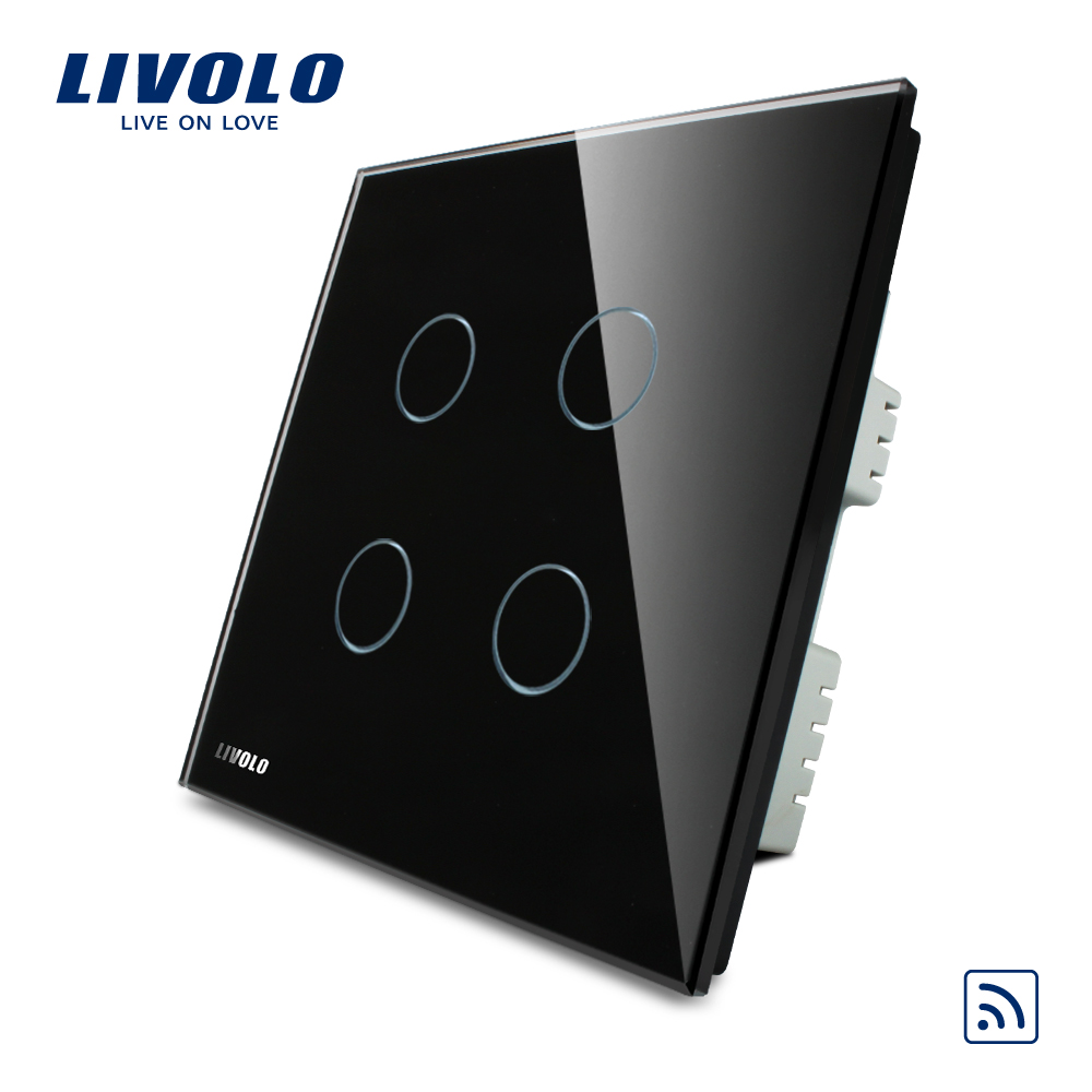 Livolo UK standard 4gang Wireless Remote Touch Switch , AC 220-250V ,Black Crystal Glass Panel, VL-C304R-62,no remote controller 2017 smart home crystal glass panel wall switch wireless remote light switch us 1 gang wall light touch switch with controller