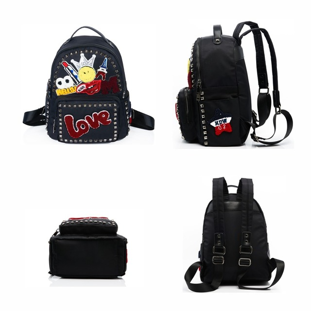 AMELIE GALANTI Women Bag Backpack Nylon Fabric Fashion School Bag Backpack for Teenager Big Capacity Appliques Letter Female Bag