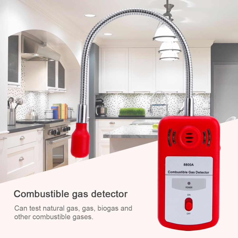 Sensitive Useful Gas Analyzer Combustible Gas Detector Portable Gas Leak Location Determine Tester with Sound-light Alarm 8800A