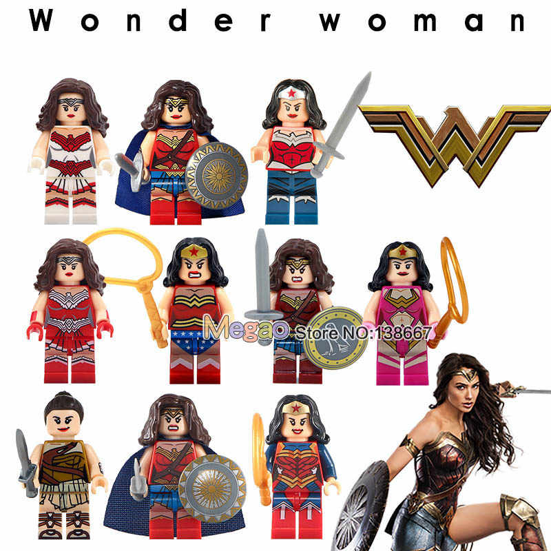 Одиночная продажа DC Super Hero Wonder Woman Diana Princes строительные блоки Обучающие Детские Подарочные игрушки