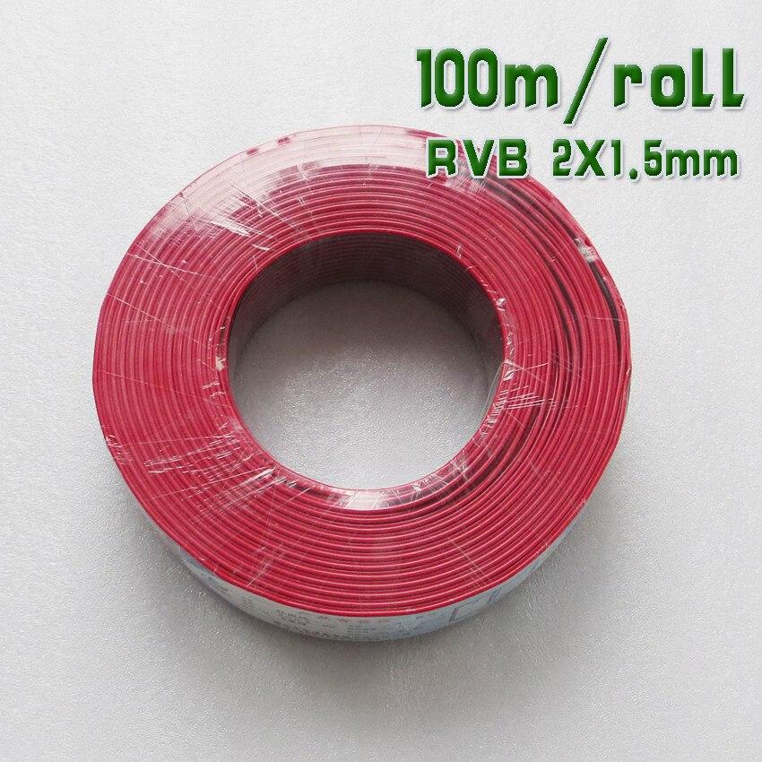 100 м/рулон <font><b>RVB</b></font> 2X1. 5mm2 красный + черный гибкий Провода чистый Медь 16awg 2 контактный ядро электрических использовать кабель для Солнечный свет Мон&#8230;