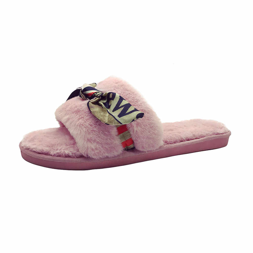 b8aa813c2 2018 Womens Ladies Slip On Sliders Fluffy Faux Fur Flat Slippers Flip Flop  Sandals Hot Sale