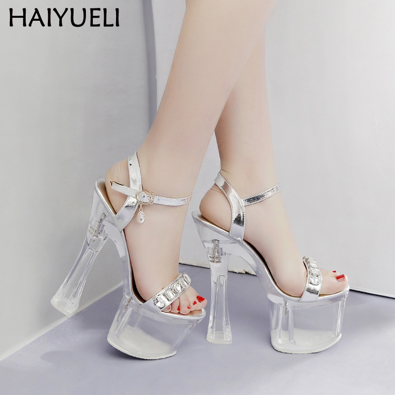 Fashion 18cm heel 8cm Platform Womens Sandal Sexy Open Toe High Heels Summer Transparent Shoes Ladies Wedding Party Shoes in High Heels from Shoes