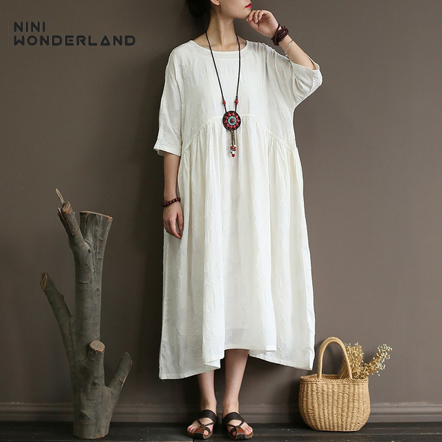 e25af45480e NINI WONDERLAND Summer Loose Dress Women Solid Vintage Big Size Dress Linen  Cotton Dresses Female White