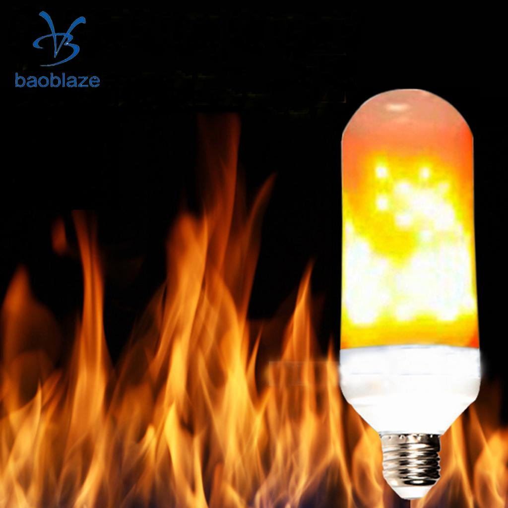 E27 Base LED Vivid Flame Effect Corn Light Bulb Flickering Flame Decor Bulb