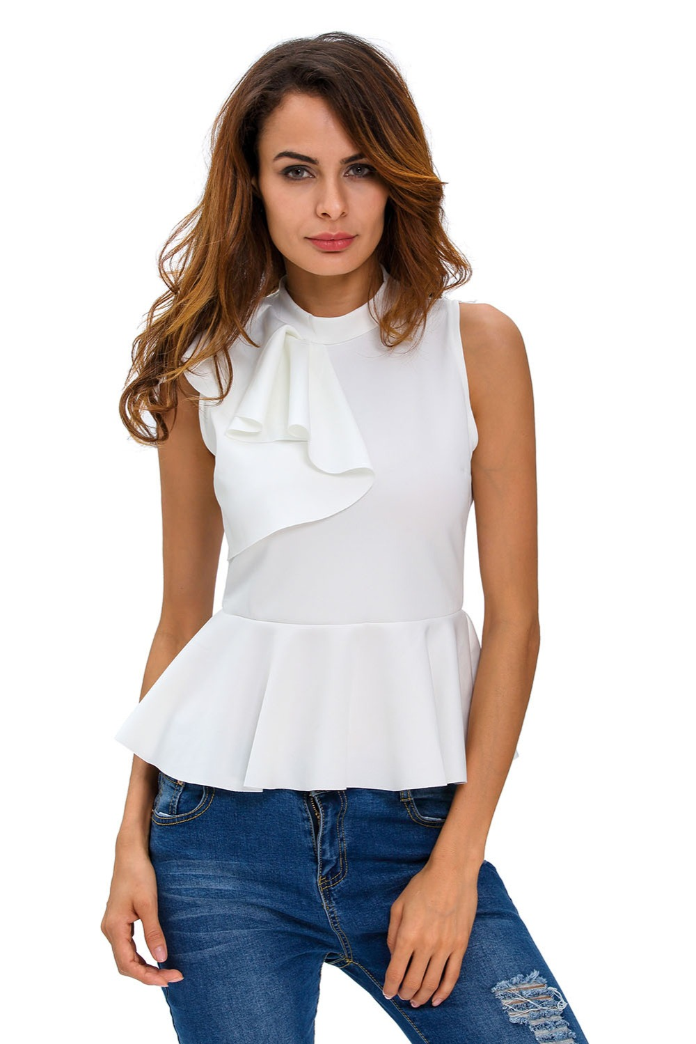 Aletterhin Women Asymmetric Ruffles Peplum Blouse Lady Zippers Blusas High Neck Sleeveless Office Lady Shirt blusas 2017 Summer