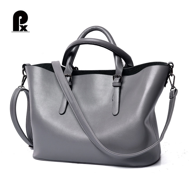 Luxury Women Genuine Leather Handbags Brand Womens Bags Designer Totes Big Bag Black Silver Bolsa Feminina Sac A Main Mujer