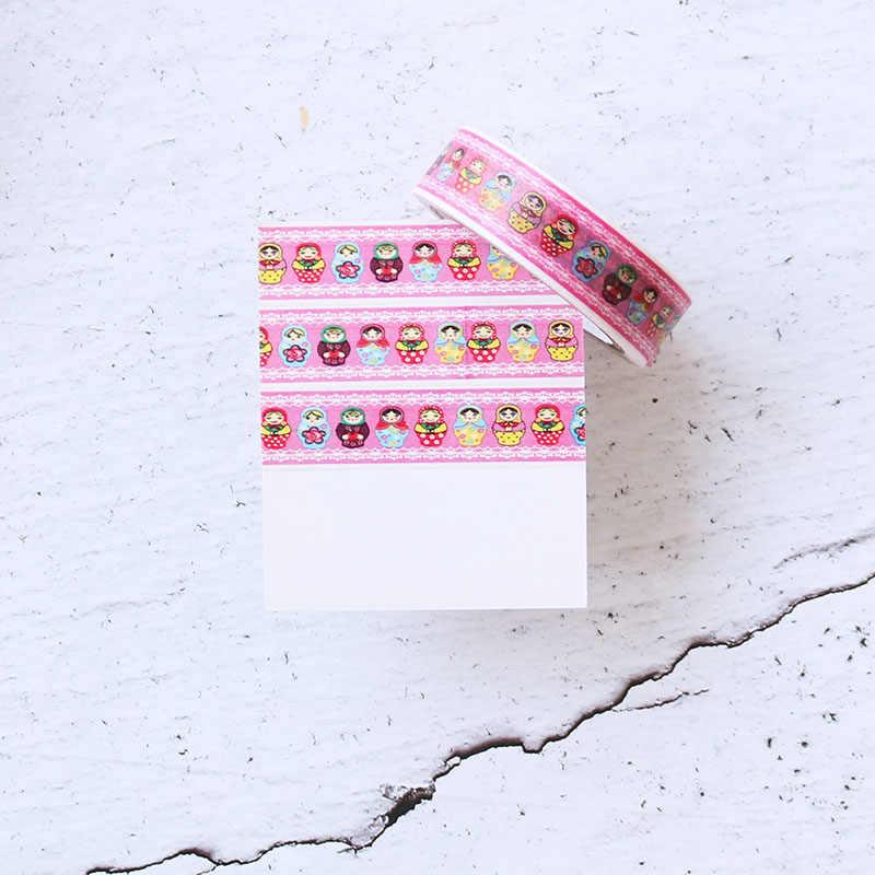 1 pz Carino Washi Tape Nastro Bambole Colorate Nastro Adesivo Auto Adesivo Decor FAI DA TE Scrapbooking Scuola Etichetta Adesiva di Cancelleria, 10 m x 1.5 cm