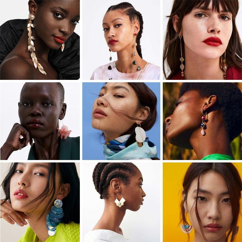 Bestessy Za 2019 Jewelry Wholesale Drop Earrings Women Boho Trendy Big Long Dangle Earring High Quality Bohemian Accessories in Drop Earrings from Jewelry Accessories
