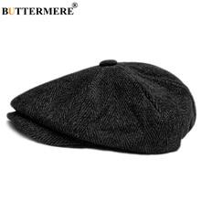 BUTTERMERE Mens Herringbone Flat Cap Wool Newsboy Hats Male Dark Grey Winter Classic Octagonal Cap Vintage British Painter Hat