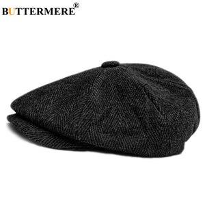 Image 1 - BUTTERMERE Mens Herringbone Flat Cap Wool Newsboy Hats Male Dark Grey Winter Classic Octagonal Cap Vintage British Painter Hat