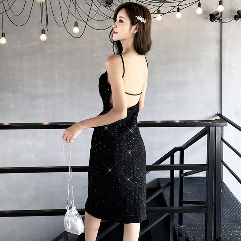Summer Sequined Office Sexy Party Wrap Midi Dress Elegant Pencil Dresses Spaghetti Strap Sleeveless Backless Women Dress Vestido