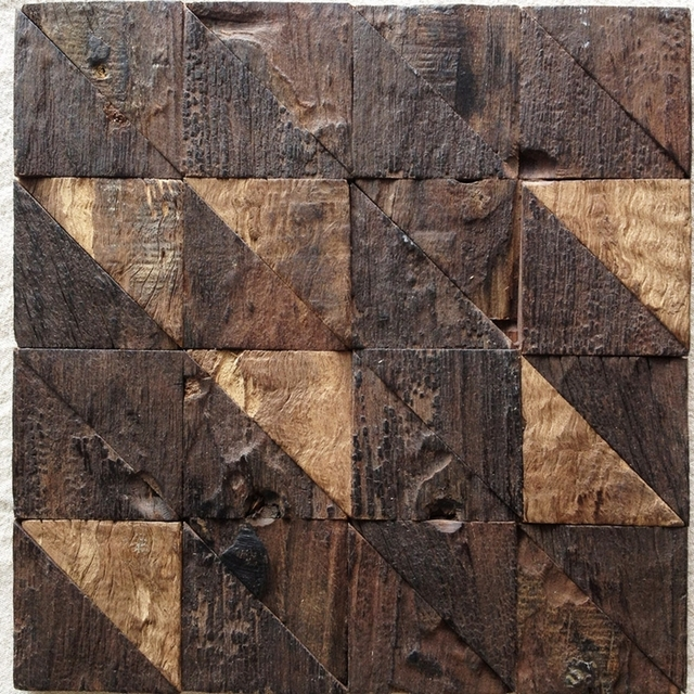 Unique Design Rustic Natural Old Ship Wood Tile Triangle